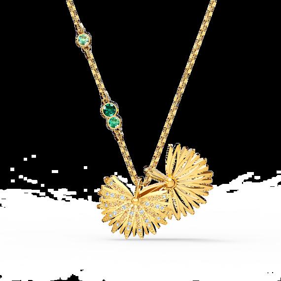 سلسلة النخلة من مجموعة سواروفسكيSymbolic، خضراء اللون، مطلية باللون الذهبي