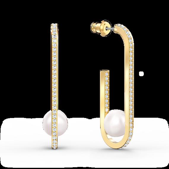 أقراط So Coolباللؤلؤ للأذن المثقوبة، بيضاء اللون، مطلية باللون الذهبي