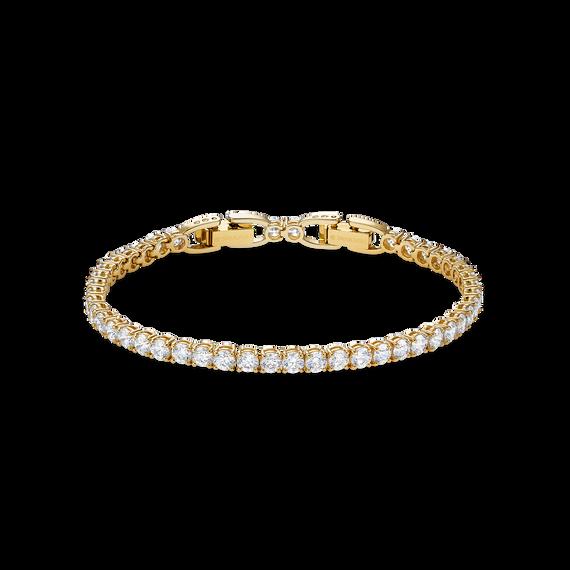 إسوارة الفاخرة Tennis Deluxe، بيضاء اللون، مطلية باللون الذهبي
