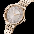 ساعة Crystalline Chic، سوار معدني، رمادي، طلاء PVD أصفر ذهبي