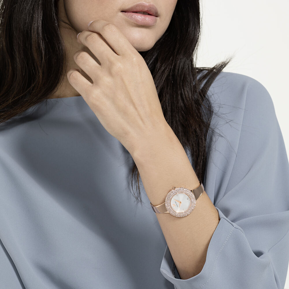 ساعة Crystal Rose ، سوار معدني ، أبيض ،  بلون ذهبي وردي PVD
