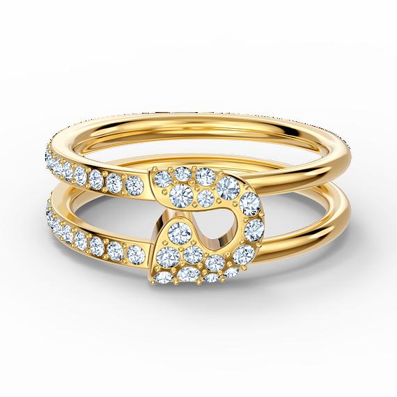 خاتم So Coolمع دبوس، أبيض اللون، مطلي باللون الذهبي