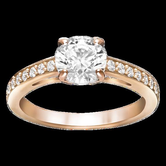 خاتم Attract دائري، أبيض، بطلاء ذهب وردي