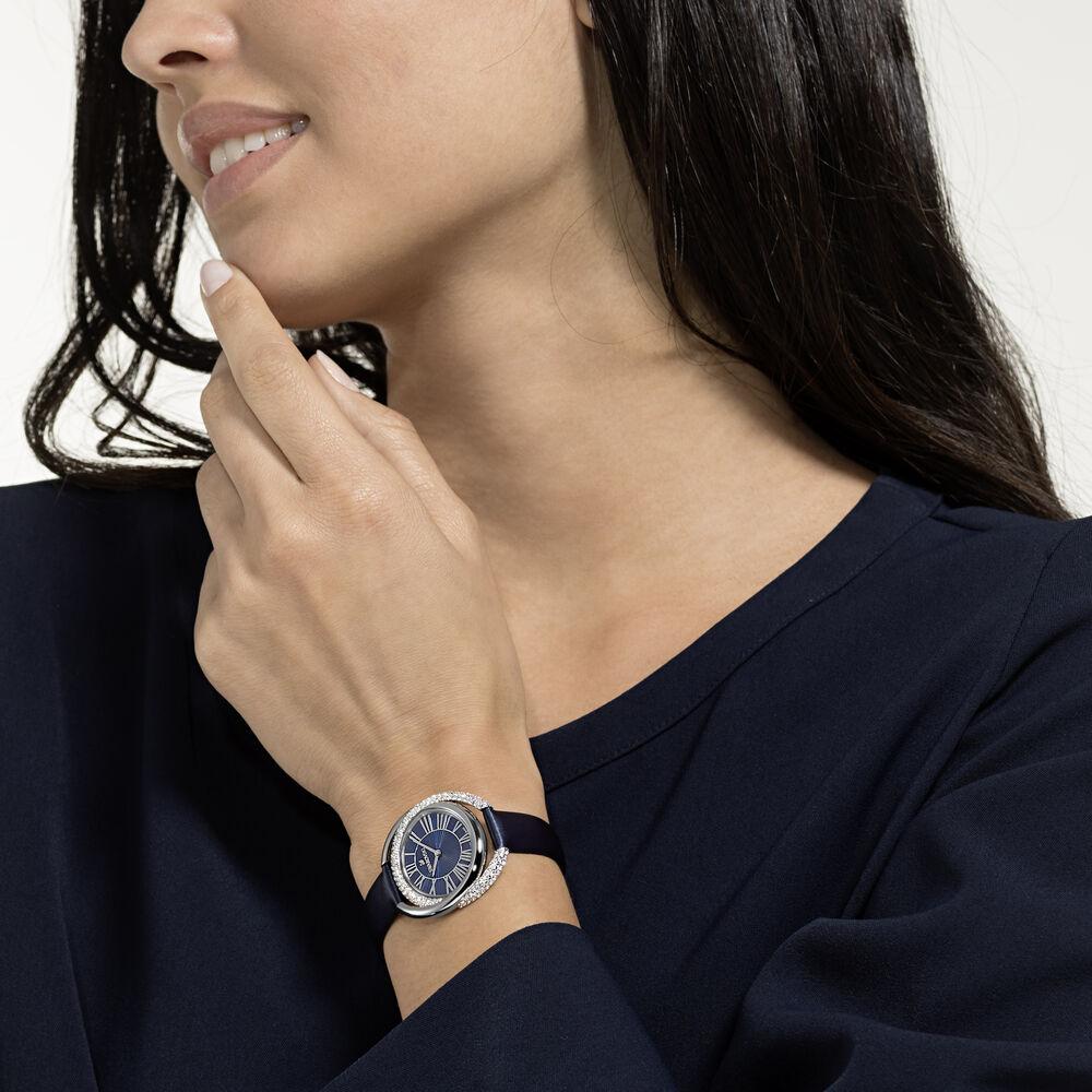 ساعة Duo، حزام جلد، لون أزرق، ستانلس ستيل