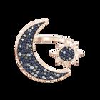 خاتم Swarovski Symbolic موتيف على شكل قمر، متعدد الألوان، طلاء ذهبي وردي