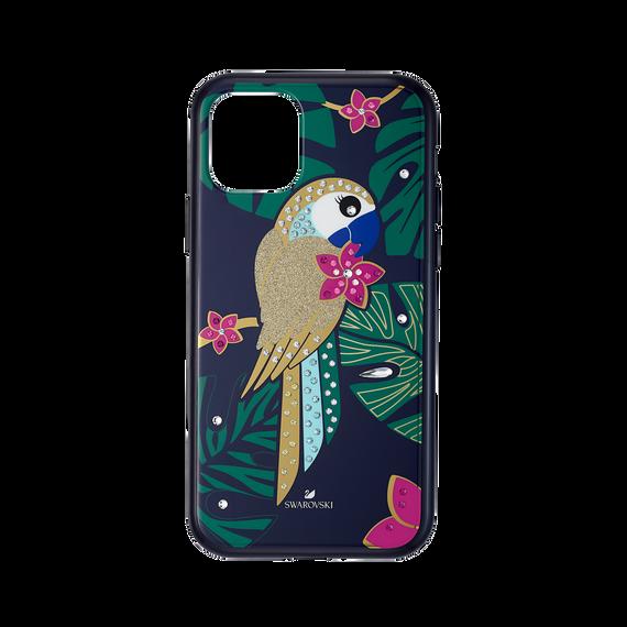 غطاء هاتف ذكي من مجموعة ببغاء Tropical بمصد مدمج، iPhone® 11 Pro ، متعدد الألوان الغامقة