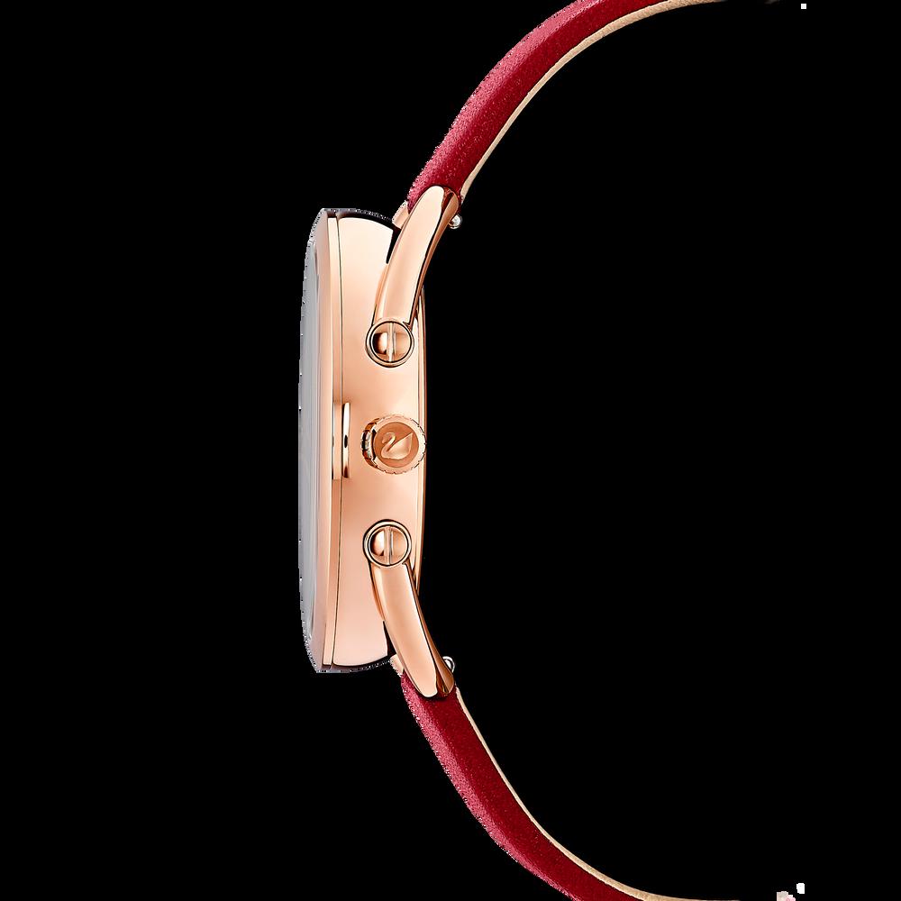 ساعة Crystalline Glam، حزام جلد، أحمر، طلاء PVD ذهبي وردي