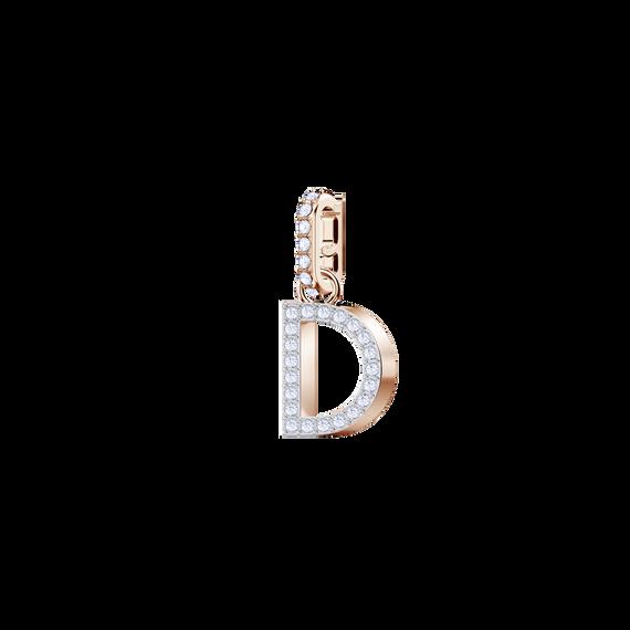 دلاية حرف D من مجموعةSwarovski Remix Collection ، بيضاء، بطلاء ذهب وردي