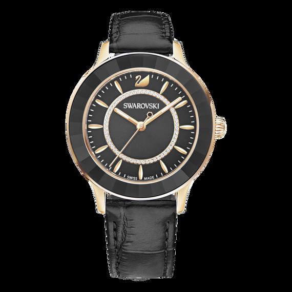ساعة Octea Lux، بحزام جلدي، سوداء، بلون ذهب وردي
