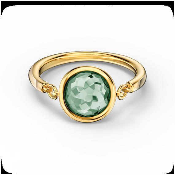 خاتم Tahlia، لون أخضر، طلاء بالون الذهبي