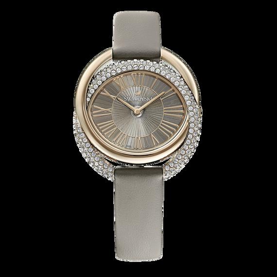 ساعة Duo، حزام جلد، لون رمادي، طلاء PVD أصفر ذهبي
