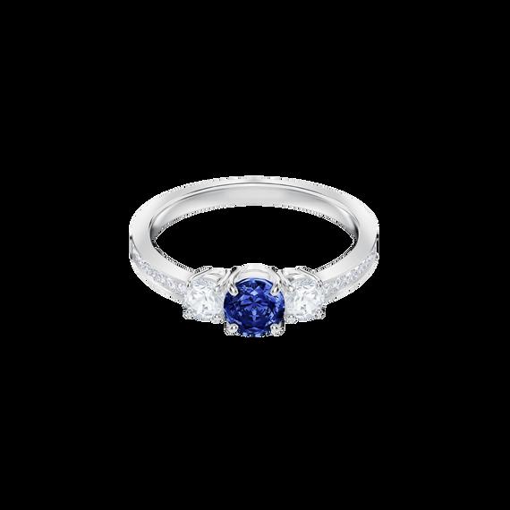 خاتم Attract Trilogy دائري، أزرق، بطلاء من الروديوم