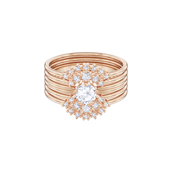خاتم Penélope Cruz Moonsun بتصميم متكدس، أبيض، طلاء ذهبي وردي