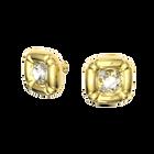 أقراط Dulcis، مربع، مزدان بكريستالات مربعة بحواف دائرية، طلاء باللون الذهبي