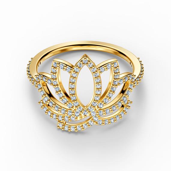 خاتم يحمل زهرة اللوتس من مجموعة سواروفسكيSymbolic، أبيض اللون، مطلي باللون الذهبي