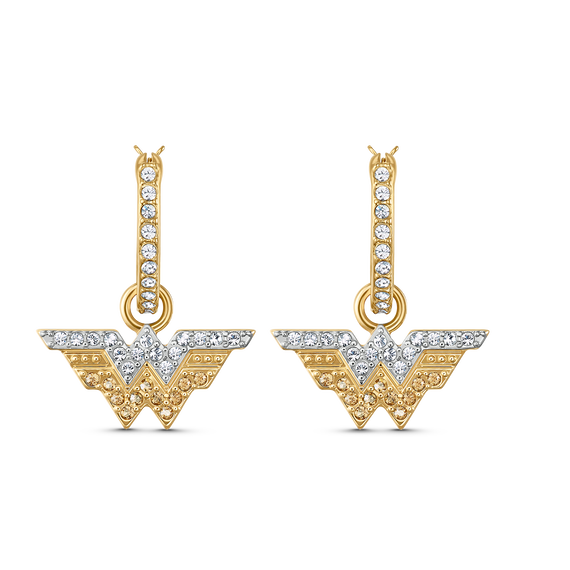 أقراط Fit Wonder Woman حلقية للأذن المثقوبة، لون ذهبي، لمسة نهائية من معادن مختلطة