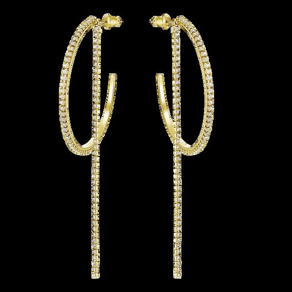 أقراط الأذن المتدلية المثقوبة على شكل طوق ، أبيض ، مطلية باللون الذهبي