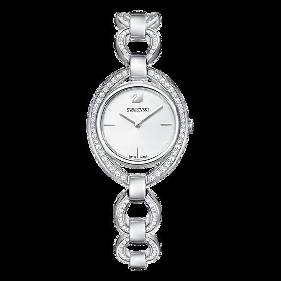ساعة Stella، سوار معدني، بيضاء، بلون فضي