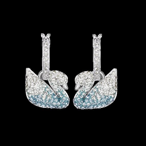أقراط الأذن المثقوبة Iconic Swan ، متعدد الألوان ، طلاء روديوم