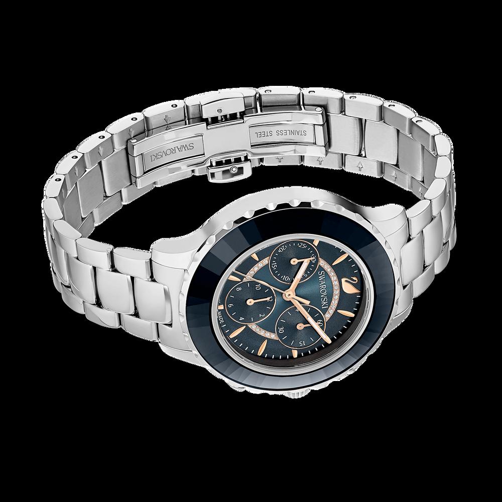 ساعة Octea Lux Chrono، سوار معدني، أسود، لون فضي