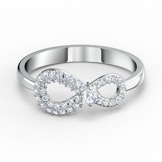 خاتم Swarovski Inifinity، لون أبيض، طلاء روديوم