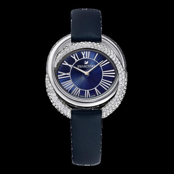 ساعة Duo  ، حزام جلدي ، أزرق ، الستانلس ستيل