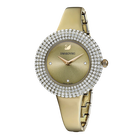 ساعة Crystal Rose ، سوار معدني ، رمادي ، بلون أصفر ذهبي PVD