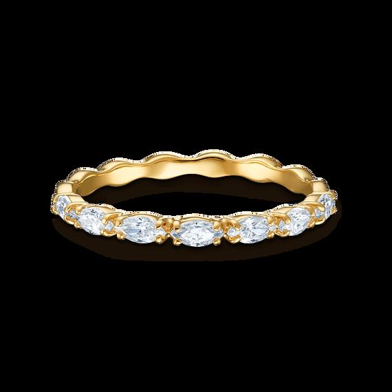 خاتم Vittore Marquise، أبيض اللون، مطلي باللون الذهبي