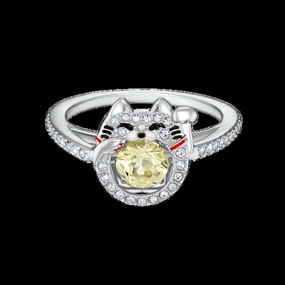 خاتم يحمل شكل قطة من مجموعة سواروفسكي Sparkling Dance، متعدد الألوان الفاتحة، مطلي بالروديوم
