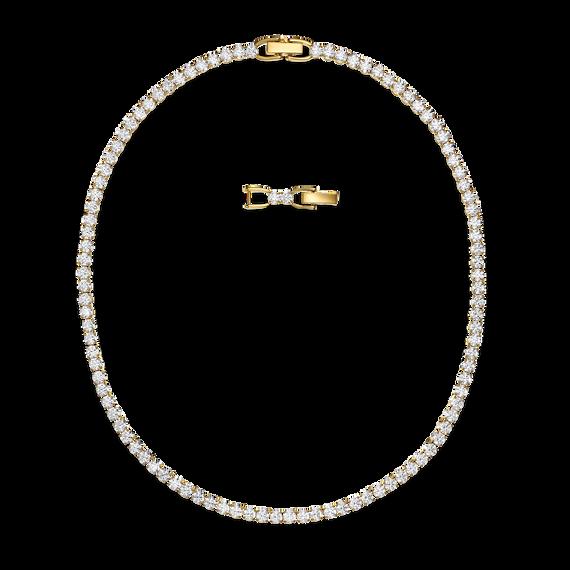 عقد Tennis Deluxe، لون أبيض، طلاء باللون الذهبي