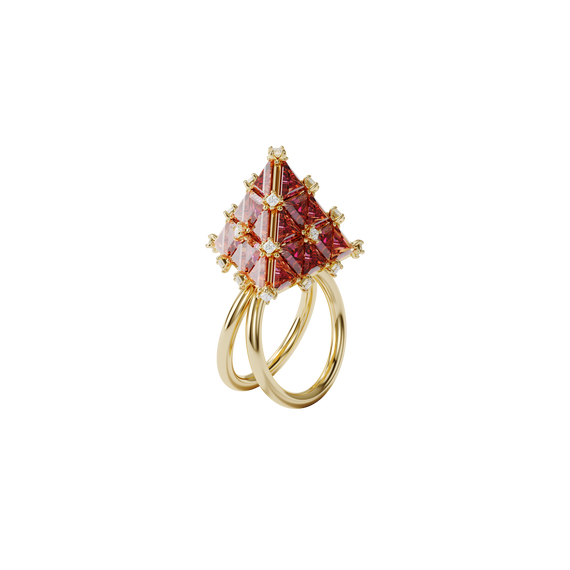 Curiosa cocktail ring, Triangle, Orange, Gold-tone plated