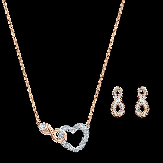 طقم Swarovski Inifinity على شكل قلب، أبيض اللون، مع طبقة خارجية معدنية مختلطة
