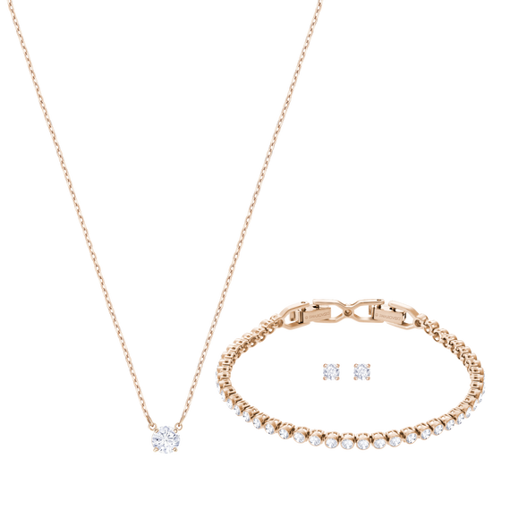 Attract Emily Set, White, Rose-gold tone plated