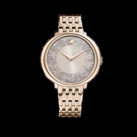 ساعة Crystalline Chic، سوار معدني، لون رمادي، طلاء ذهبي بلون الشمبانيا بتقنية PVD