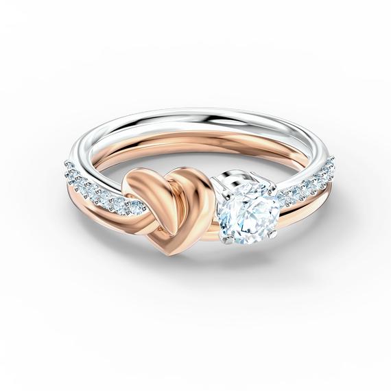 خاتم  Lifelong Heart، أبيض اللون، مع طبقة خارجية معدنية مختلطة