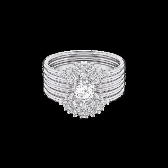 طقم خاتم Moonsun ، أبيض ، مطلي بالروديوم