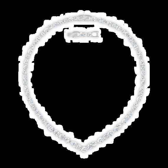عقد Tennis Deluxe على شكل حرف V، لون أبيض، طلاء روديوم