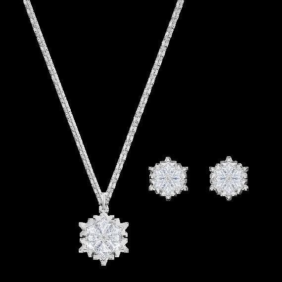 طقم Magic Snowflake ، أبيض ، مطلي بالروديوم