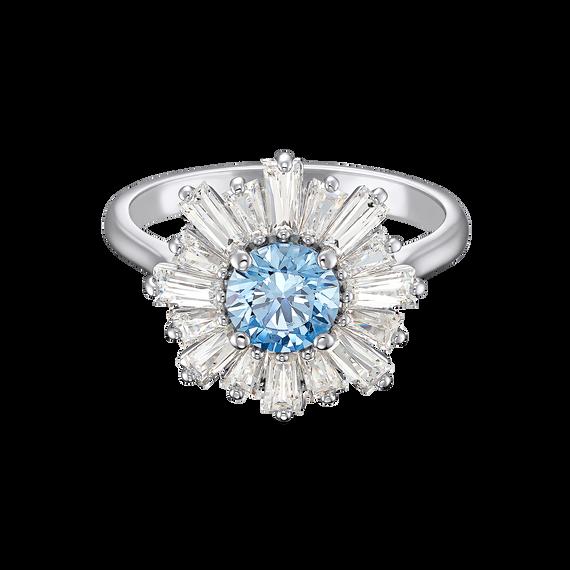 خاتم Sun Shine، أزرق اللون، مطلي بالروديوم