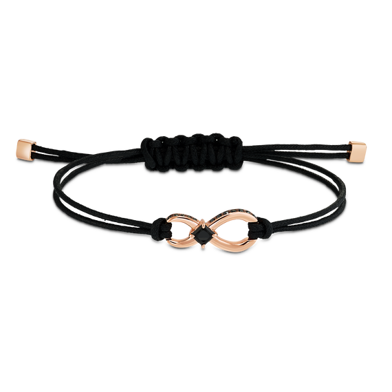 إسوارة Swarovski Inifinity، سوداء اللون، مطلية باللون الذهبي الوردي