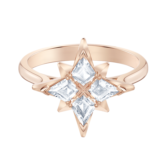 خاتم Symbolic من سواروفسكي على شكل نجمة ، أبيض ، مطلي باللون الذهبي الوردي
