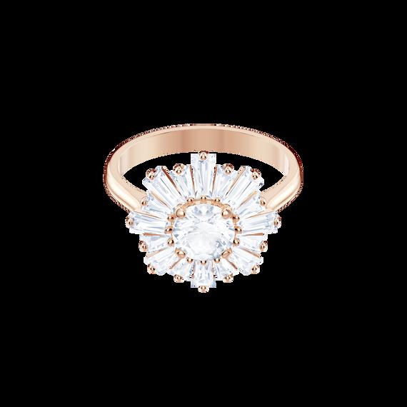 خاتم Sunshine، أبيض، بطلاء ذهب وردي