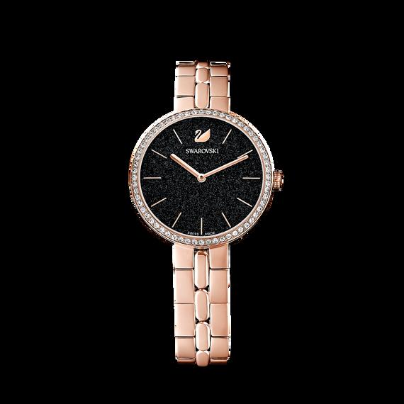 ساعة Cosmopolitan، بسوار معدني أسود، باللون الذهبي الوردي، ومطلي بمادة بي في دي (الترسيب الفيزيائي للبخار)