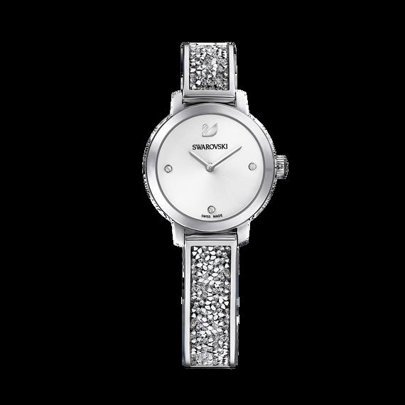 ساعة Cosmic Rock، بسوار معدني، بيضاء، بلون فضي