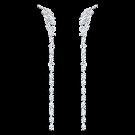 أقراط الأذن المثقوبة Nice  ، أبيض ،  طلاء روديوم