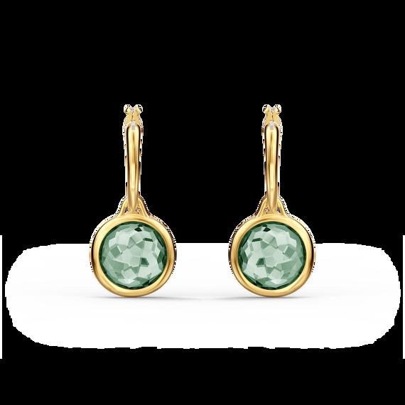 أقراط Tahlia حلقية صغيرة للأذن المثقوبة، لون أخضر، طلاء باللون الذهبي