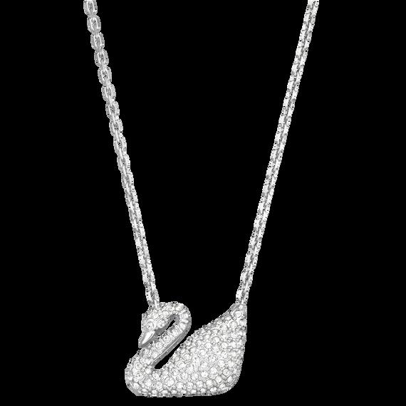 عقد Swan، لون أبيض، طلاء روديوم
