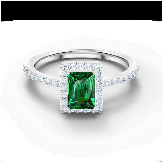 خاتم Angelic مستطيل، لون أخضر، طلاء روديوم