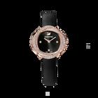 ساعة Crystal Flower، سوار جلد، لون أسود، طلاء ذهبي وردي بتقنية PVD