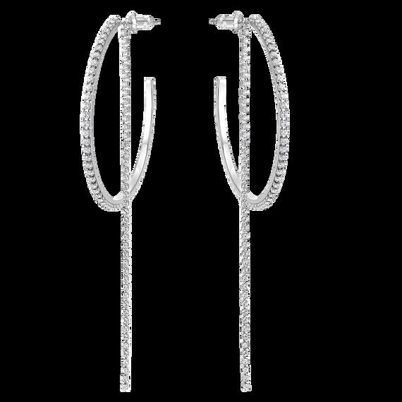 أقراط الأذن المتدلية المثقوبة على شكل طوق ، أبيض ، ستانلس ستيل